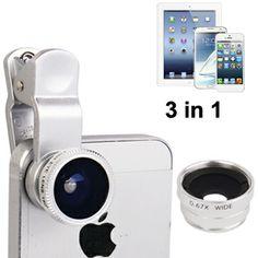 3 in 1 Clip Lens 180 Degree + 0.67x Wide Angle + Macro Lens Untuk Smatphone dan Tablet (SILVER)