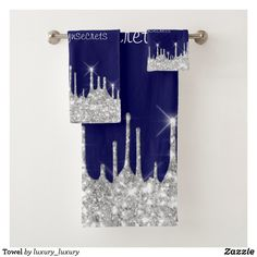 Towel Gray Shower Curtains, Custom Shower Curtains, Glitter Home Decor, Modern Bathroom Decor, Bridal Beauty, Towel Set, Washing Clothes, Blue And Silver, Hand Towels