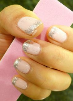 DIY Gelish Manicure - Pink Smoothies + silver glitter