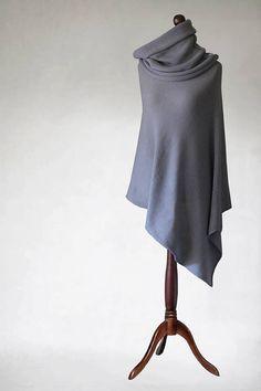 Cashmere poncho Knit poncho gray scarf wrap by KnitwearFactory