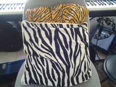 Zebra print pillow, tiger print pillow form cover made in honor of film, Life of Pi with a twist:  here, the Tiger is in the Zebra!