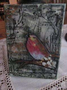 "5 x 7 mixed media canvas ""Red Bird"""