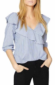 Image 1 of Sanctuary Secret Garden Striped Ruffled Top Empire Waist Tops, Stripped Shirt, Blouse And Skirt, Beautiful Blouses, Cotton Blouses, Blouse Designs, Blouses For Women, Fashion Dresses, Clothes