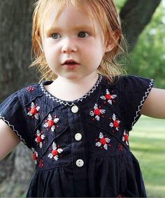 Love this Navy Embroidered July Dress - Infant, Toddler & Girls on #zulily! #zulilyfinds