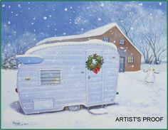 Paige Bridges Vintage Travel Trailer Art Winged Shasta Christmas wreath snowman snow scene