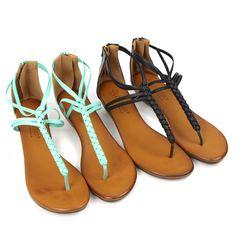 """""""Winda"""" T-Strap Braid Low Wedge Sandals - Mint"""