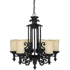 Capital Lighting 3266WI-125 Chandelier with Rust Scavo Glass Shades, Wrought Iron FinishSears Elite Lighting $598