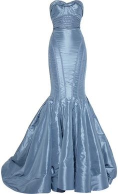 ZAC POSEN  Strapless Taffeta Fishtail Gown  French-blue taffeta. Ruched sweetheart neckline, ribbon detail, internal boned bodice, padded underwired cups, stiffened mesh underskirts, fully lined. Zip fastening through back. 100% silk.