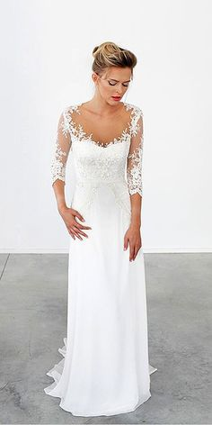 18 Simple Wedding Dresses For Elegant Brides ❤ Simple wedding gowns with lace lond sleeves. See more: http://www.weddingforward.com/simple-wedding-dresses/ #wedding #dresses