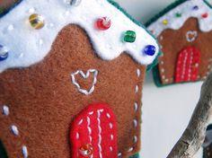 Festive ginger bread house, hand stitched felt Christmas decoration £5.50