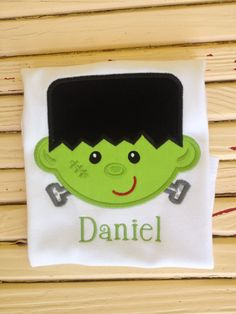 An adorably cute and not too scary Frankenstein shirt by UpIslandlife on Etsy
