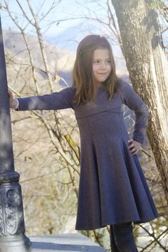 Jottum lovely grey tricot cross over winter dress Saroma 128 8 Y
