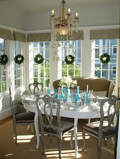 Love the little wreaths in the windows <3