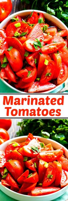 Marinated Tomatoes are made with ripe, juicy tomatoes marinated in  red wine vinegar-based marinade.