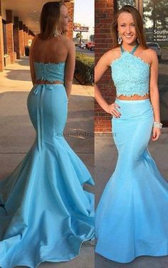 Sweep Train Mermaid Two Piece Beaded Halter Prom Dress Satin 50419 a6a9e7b99093