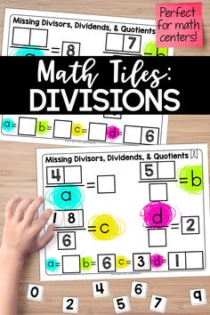 This math center explores division by looking at problems with missing divisors, dividends, and quotients. Students must place 10 number tiles (0-9) on the math tile cards to find the missing numbers in various division problems that are represented with algebraic notation. Teaching Critical Thinking, Help Teaching, Teaching Math, Teaching Ideas, Sixth Grade, Third Grade, Fourth Grade Math, Cooperative Learning, Problem Solving Skills