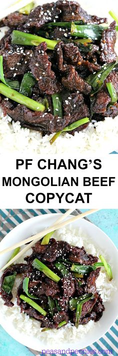 PF Chang's Mongolian Beef Recipe Copycat is the easiest way to have a flavorful and delicious restaurant style dinner at home in 30 minutes!