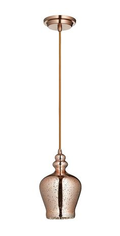 Calista 1 Light Pendant in Satin Copper design by Cyan Design
