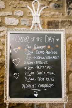 Silver framed blackboard wedding order of service, order of the day, schedule