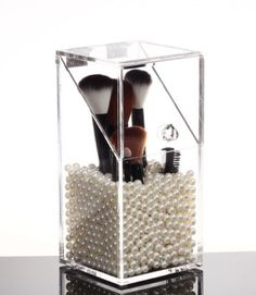 Acrylic Makeup Cosmetic Storage Box Organizer Brush Holder with Lid SMALL