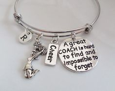 Cheer Coach bangle, A great Coach is hard to find and impossible to forget bracelet, Cheerleader gifts, Cheerleading jewelry, Personalized