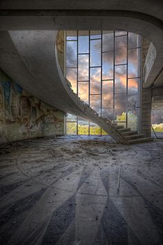 Floating Stair | Abandoned restaurant.. The windows the walls the wall art the marble floors oh all so perfect
