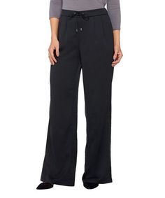 Another great find on #zulily! Black Charmeuse Wide-Leg Pants - Plus Too #zulilyfinds