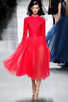 Christian Dior fall 2012 rtw on Kate King (ELITE) fuschia Shiap pink neon pleated dress cocktails