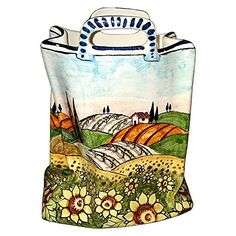 Handmade Home Décor CERAMICHE D'ARTE PARRINI - Italian Ceramic Art Pottery Bag Planter Flowerpot Hand Painted Decorated Sunflowers Landscape Made in ITALY Tuscan >>> Check out the image by visiting the link.