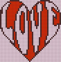 Heart love pattern / chart for cross stitch, crochet, knitting, knotting, beading, weaving, pixel art, and other crafting projects