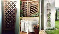 Good idea to use lattices for inside or outside projects Garden Design, Mason Jars, Lattices, Planters, Layout, Indoor, Outdoor Structures, Patio, Outdoor Decor