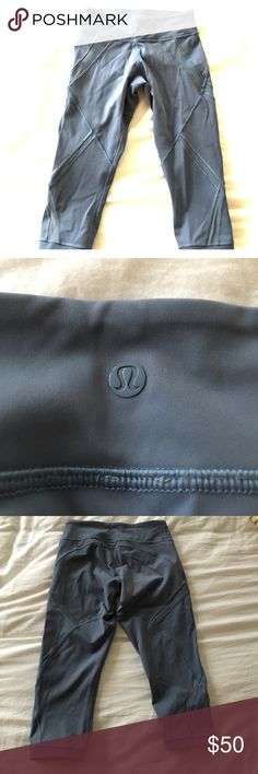 Lululemon under the knee pant Grey lulu crop. Worn 2x. Discreet mesh inserts. Awesome design, fit and feel lululemon athletica Pants Ankle & Cropped