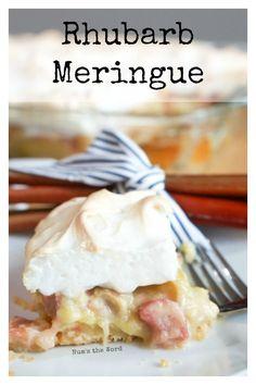 Rhubarb Meringue - Main image for recipe of Rhubarb Meringue sliced up on a plate. Rhubarb Meringue, Meringue Desserts, Rhubarb Desserts, Custard Desserts, Rhubarb And Custard, Sweet Desserts, Easy Desserts, Sweet Recipes, Delicious Desserts