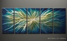 Metal Wall Art Abstract Modern Contemporary Home Decor Sculpture HUGE Electric