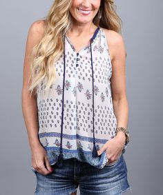 Look what I found on #zulily! Blue & Navy Geometric Sleeveless Top - Women by Coco and Main #zulilyfinds