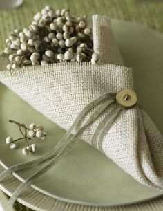 loose weave linen with button and lace wraps around a small clutch of berries