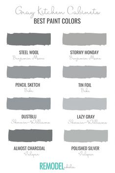 Gray kitchen cabinets are a classic, sophisticated choice when it comes to kitchen design. Use your DIY skills and try one of our best gray paint colors from Benjamin Moore, BEHR, Sherwin-Williams, and Valspar. Painting is an easy and budget-friendly way to upgrade your boring kitchen cabinets! #remodelaholic #kitchenideasfarmhouse