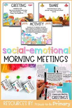 Incorporate social-emotional learning into your day with this morning meeting resource for Kindergarten, first grade, second grade, special education, and counsellors. It is filled with ideas to create a daily meeting schedule and routine in your classroom. There are slides to project, cards to print, meeting templates, and posters to teach expectations. It includes editable greetings, sharing questions, activities, and messages. #morningmeeting #socialemotionallearning #responsiveclassroom Friendship Activities, Kindness Activities, Preschool Activities, Classroom Management Strategies, Class Management, Behavior Management, Social Emotional Learning, Social Skills, Daily Meeting