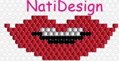 BISUTERIA DE NCALL100: PATRON LABIOS Peyote Patterns, Beading Patterns, Brick Stitch, Pixel Art, Loom, Crochet Projects, Embroidery Designs, Chokers, Beads
