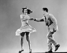 Seventeen-year-old Broadway stars Kaye Popp and Stanley Catron demonstrate the Lindy Hop in 1943.  (Gjon Mili—The LIFE Picture Collection/Getty Images)