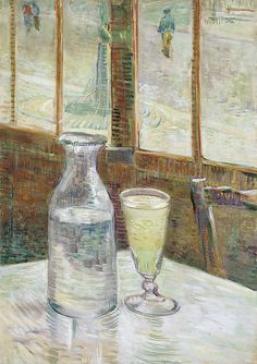 Cafe Table with Absinthe by Vincent Van Gogh, oil on canvas 1887, is a still life #painting of a glass of #absinthe and #carafe of water set on a white #tablecloth in a #Paris #cafe. #VanGogh #poster #print #art  http://www.zazzle.com/justvangogh/gifts?cg=196976061267173359&rf=238581041916875857&tc=pin