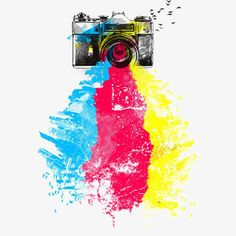 CMYK Shoots is a T Shirt designed by clingcling to illustrate your life and is available at Design By Humans Film Background, Background Banner, Camera Drawing, Camera Logo, Watercolor Effects, Banner Design, Prints For Sale, Art Projects, Laminas Para Decoupage