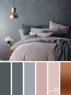 25 Best Color Schemes for Your Bedroom Grey and Pink Mauve color grey Best Color Schemes for Your Bedroom Grey and Pink Mauve color grey pantone colour Ideas Home Bedroom Colour Palette, Bedroom Color Schemes, Best Colour For Bedroom, Apartment Color Schemes, Grey Palette, Beautiful Bedroom Designs, Beautiful Bedrooms, Best Color Schemes, Color Schemes With Gray