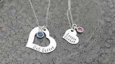 Big Sister Little Sister 2 Piece Heart Necklace Sisters Jewelry Hand Stamped Necklace Big Sis Little Sis Family Jewelry by DawnsMetalDesigns on Etsy