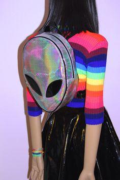 Rainbow Hologram Alien Backpack by JUNKKYARD on Etsy https://www.etsy.com/listing/232377403/rainbow-hologram-alien-backpack