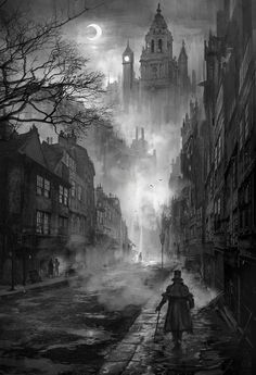 The Fleet Street Phantom- Hallowe'en 1684 A sooty, foggy night in Victorian London. great atmosphere for horror and vampires - Phuoc Quan: Black and White painting Victorian London, Victorian Street, London 1800, Victorian Vampire, Victorian Village, Victorian Gothic, London Ink, Victorian Tattoo, Victorian Conservatory