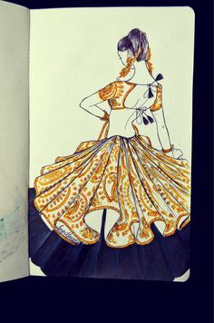 Double layered Ghagra Choli. With Gold embroidery.
