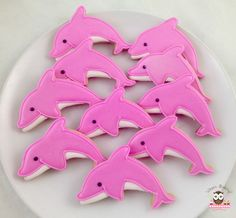 Dolphin Food, Dolphin Cakes, Dolphin Party, Pink Dolphin, Dolphin Birthday Parties, 8th Birthday Cake, Birthday Cookies, Birthday Ideas, Summer Cookies