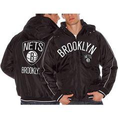 Brooklyn Nets Rover Poly Hooded Full Zip Jacket - Black - $78.99