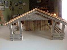 Items similar to Wood Manger/Creche on Etsy Nativity Stable, Diy Nativity, Christmas Nativity, Christmas Crafts, Doll House Play, Church Christmas Decorations, Popsicle Stick Houses, Bird Tables, Toy Barn